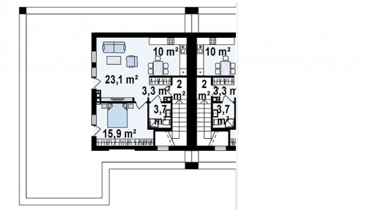Второй этаж 54,7м² дома Zb16
