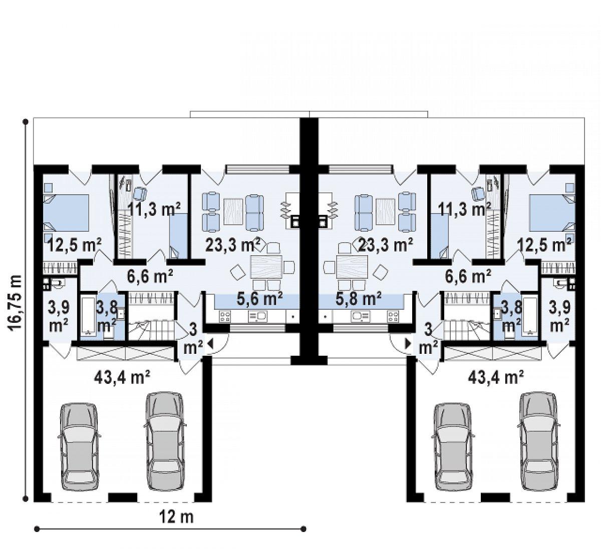 Первый этаж 66,4(113,6м²) дома Zb17