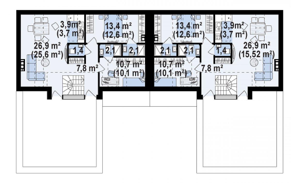 Второй этаж 65,3(68,3м²) дома Zb17