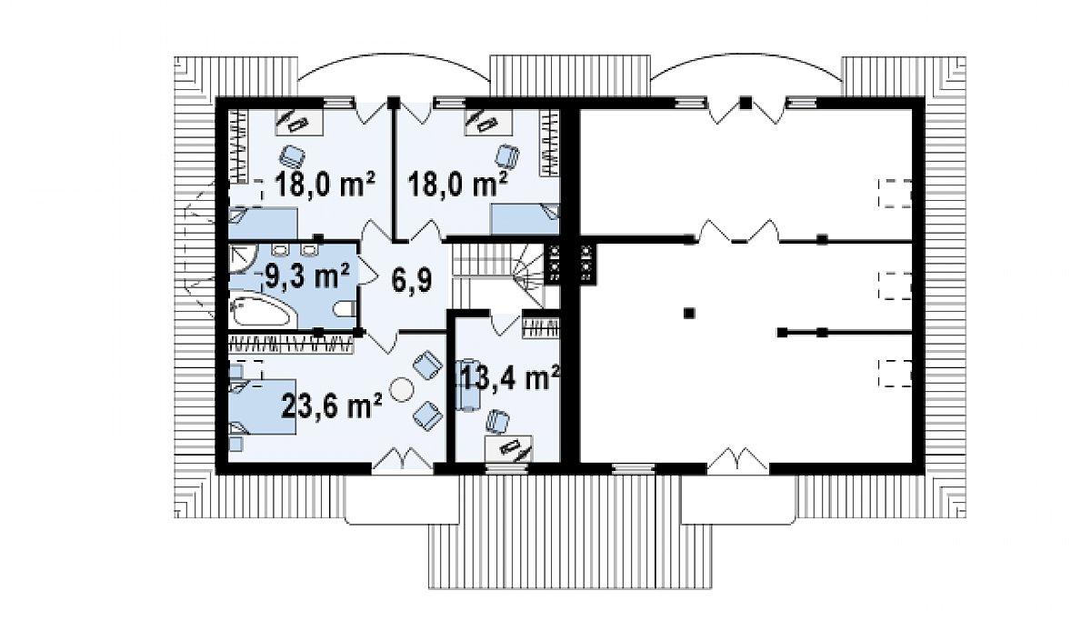 Второй этаж 89,2(89,2м²) дома Zb1