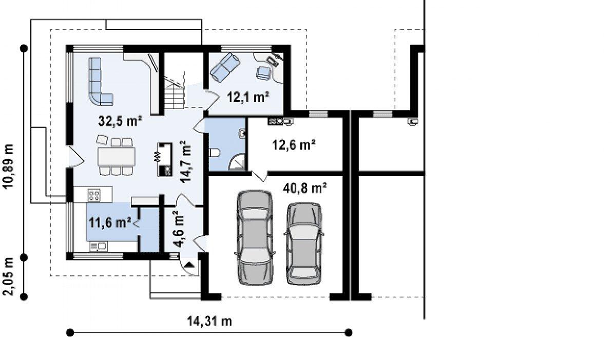 Первый этаж 80,3(133,7м²) дома Zb2