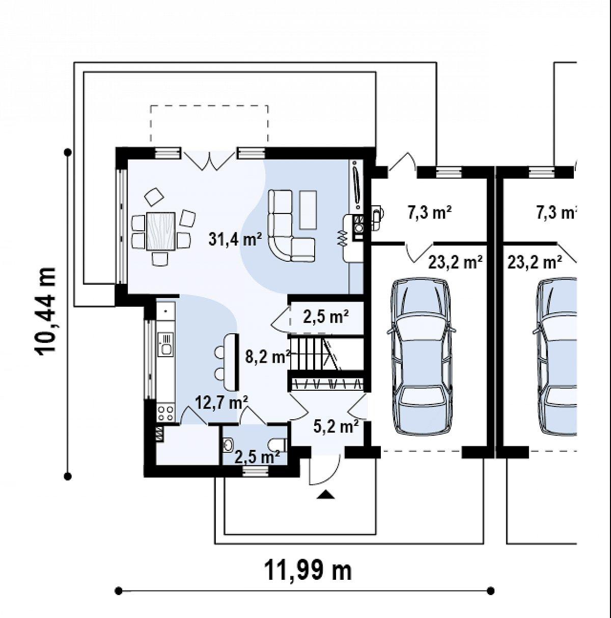 Первый этаж 62,4(92,9м²) дома Zb3