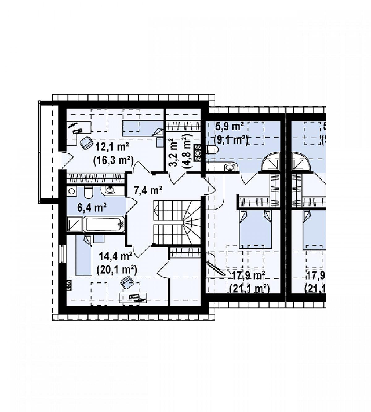 Второй этаж 67,3(85,2м²) дома Zb3