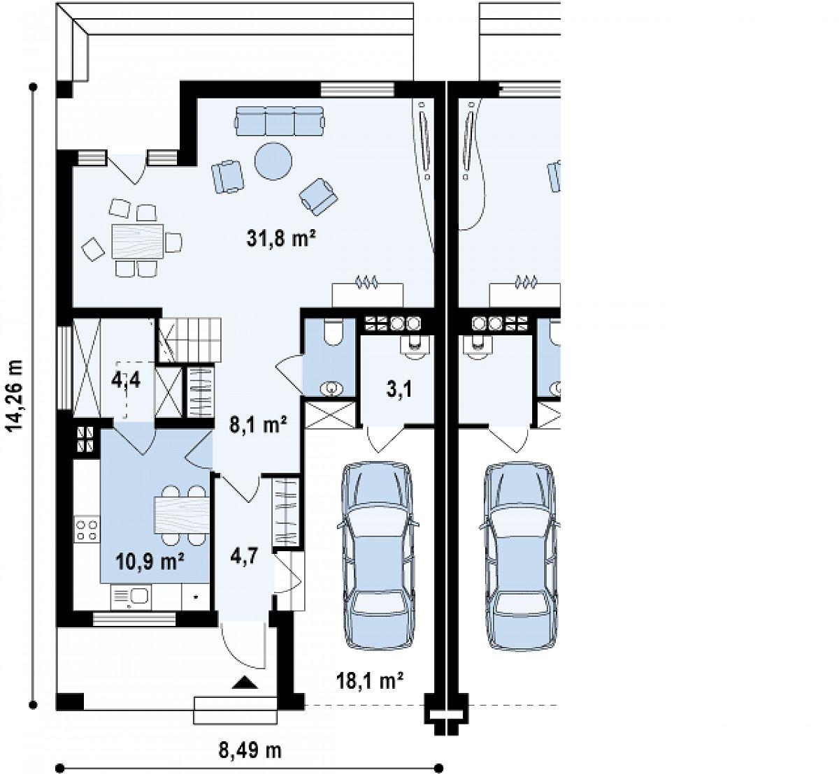 Первый этаж 61,8(83,0м²) дома Zb4