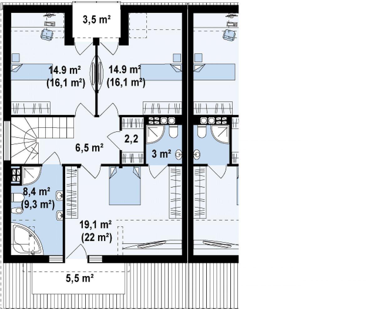 Второй этаж 69,0(75,2м²) дома Zb4