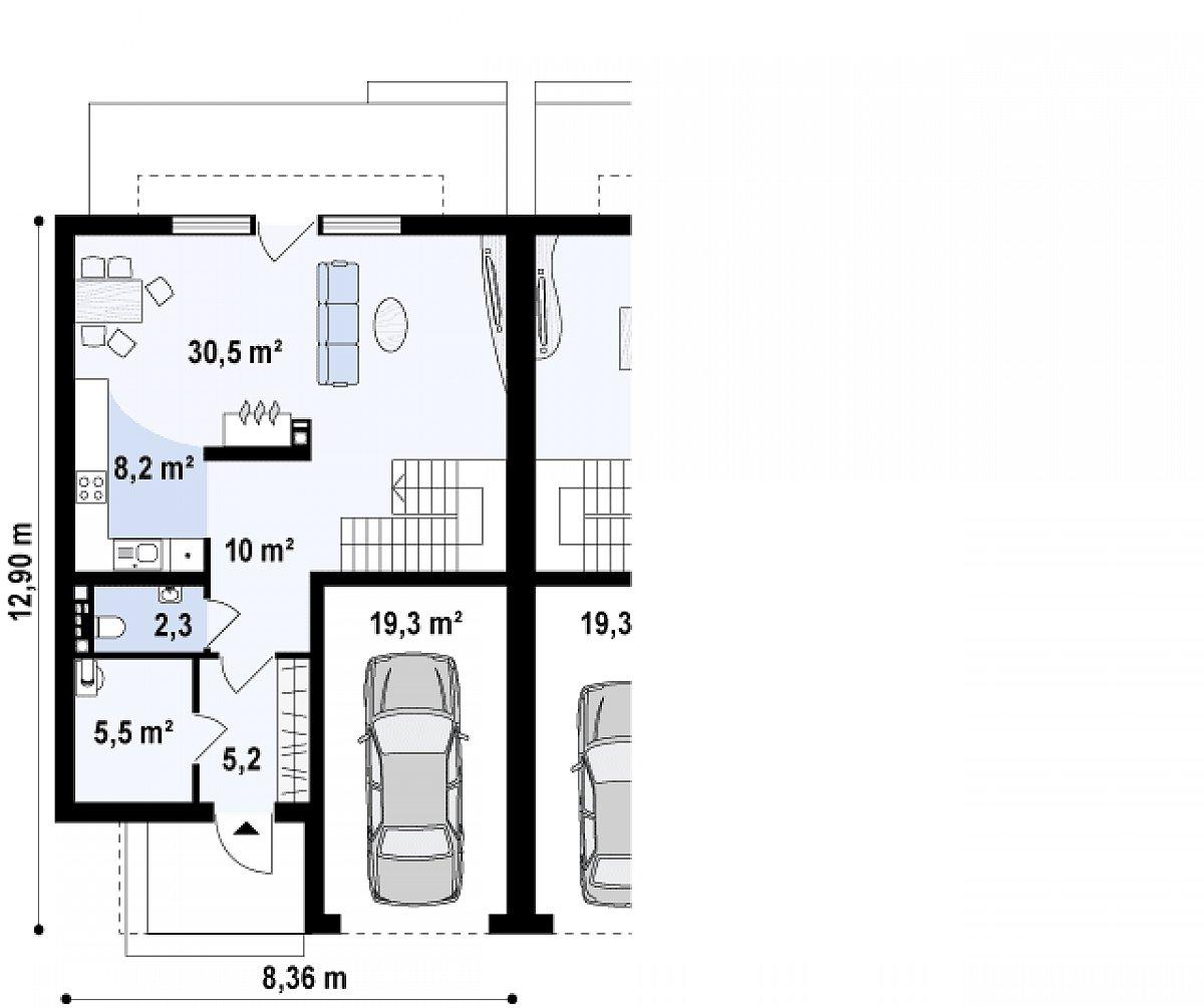 Первый этаж 61,7(81,0м²) дома Zb5