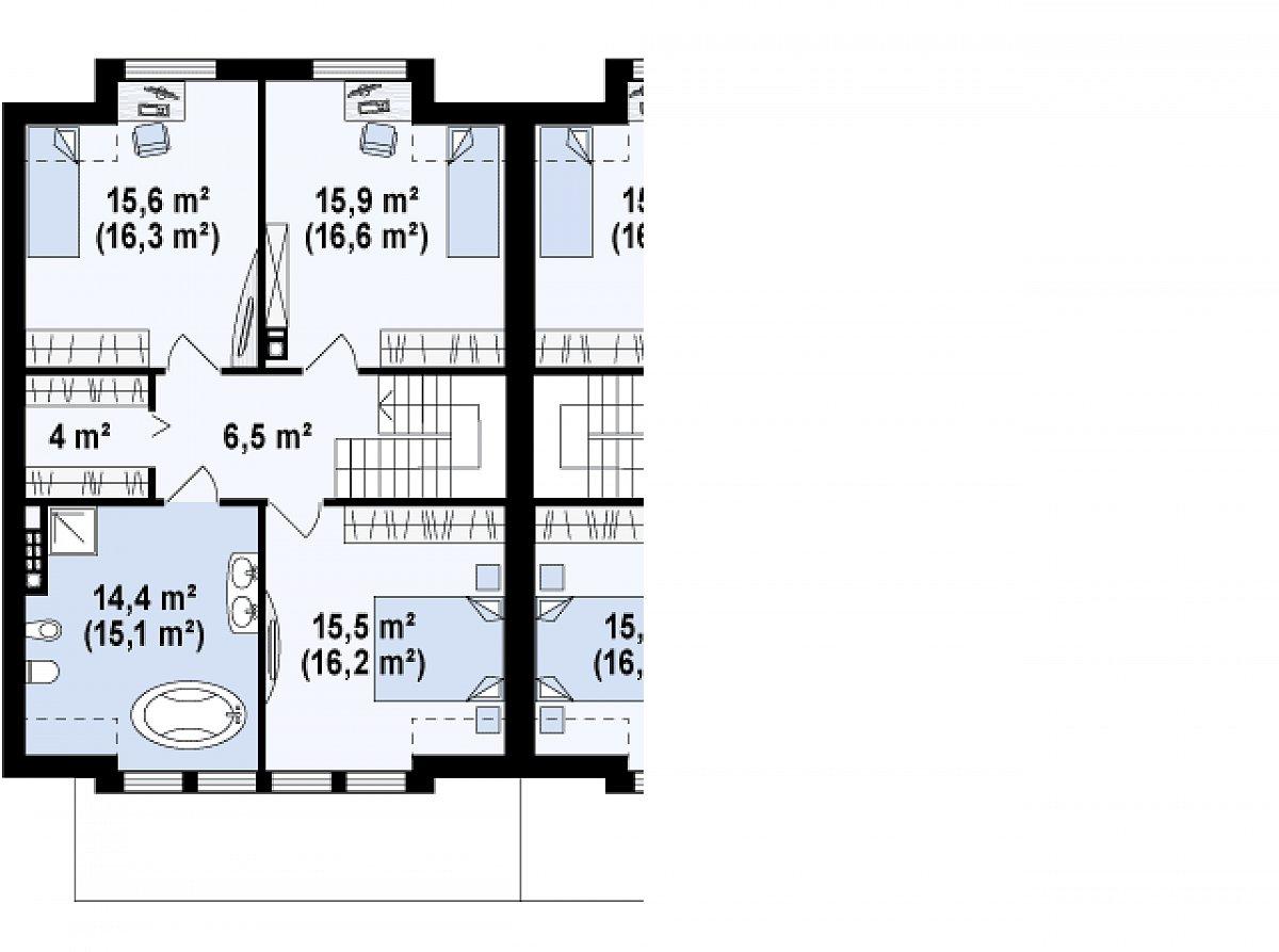 Второй этаж 72,4(74,8м²) дома Zb5