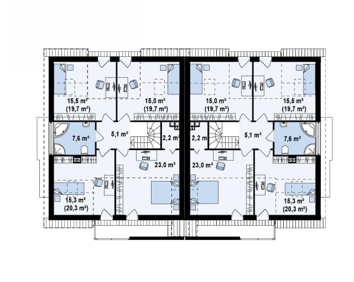 Второй этаж 83,6(97,6м²) дома Zb6