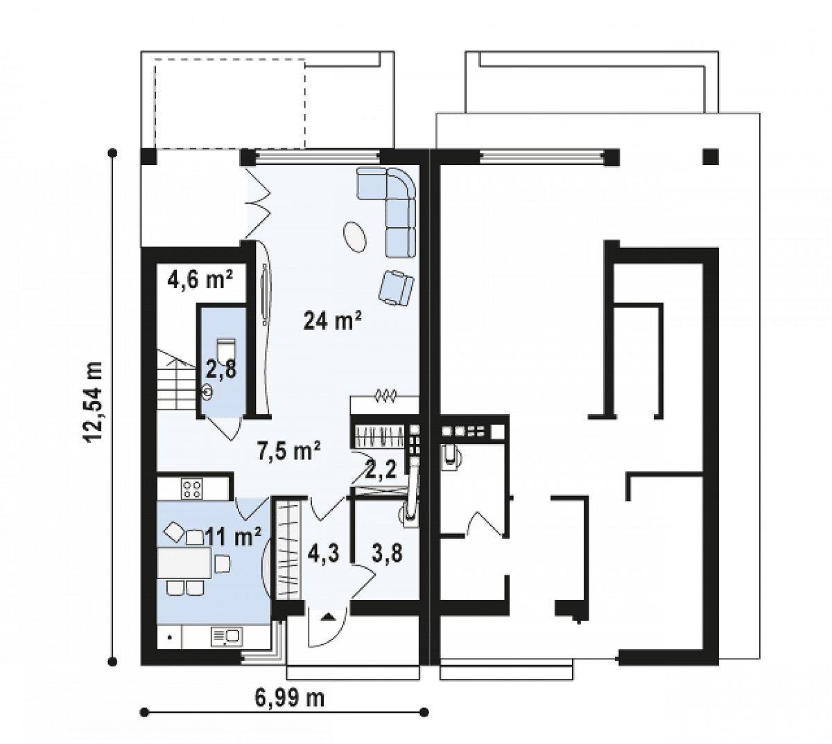 Первый этаж 60,0м² дома Zb7