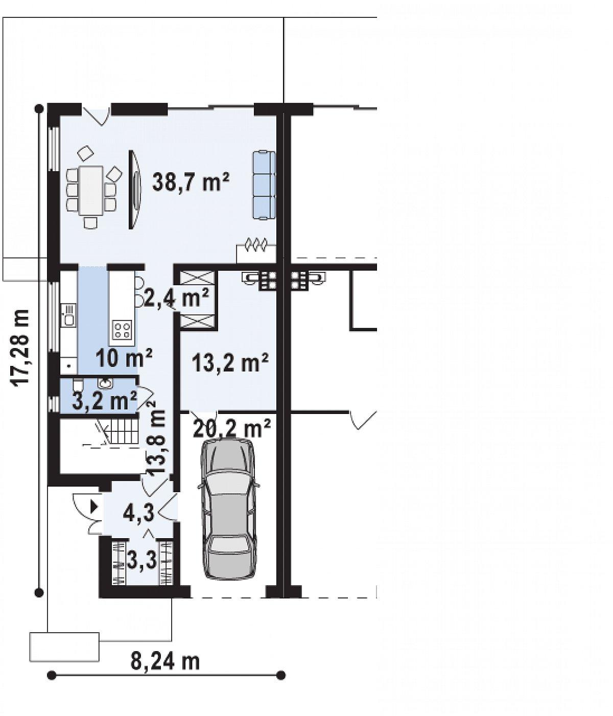 Первый этаж 75,7(109,1м²) дома Zb8