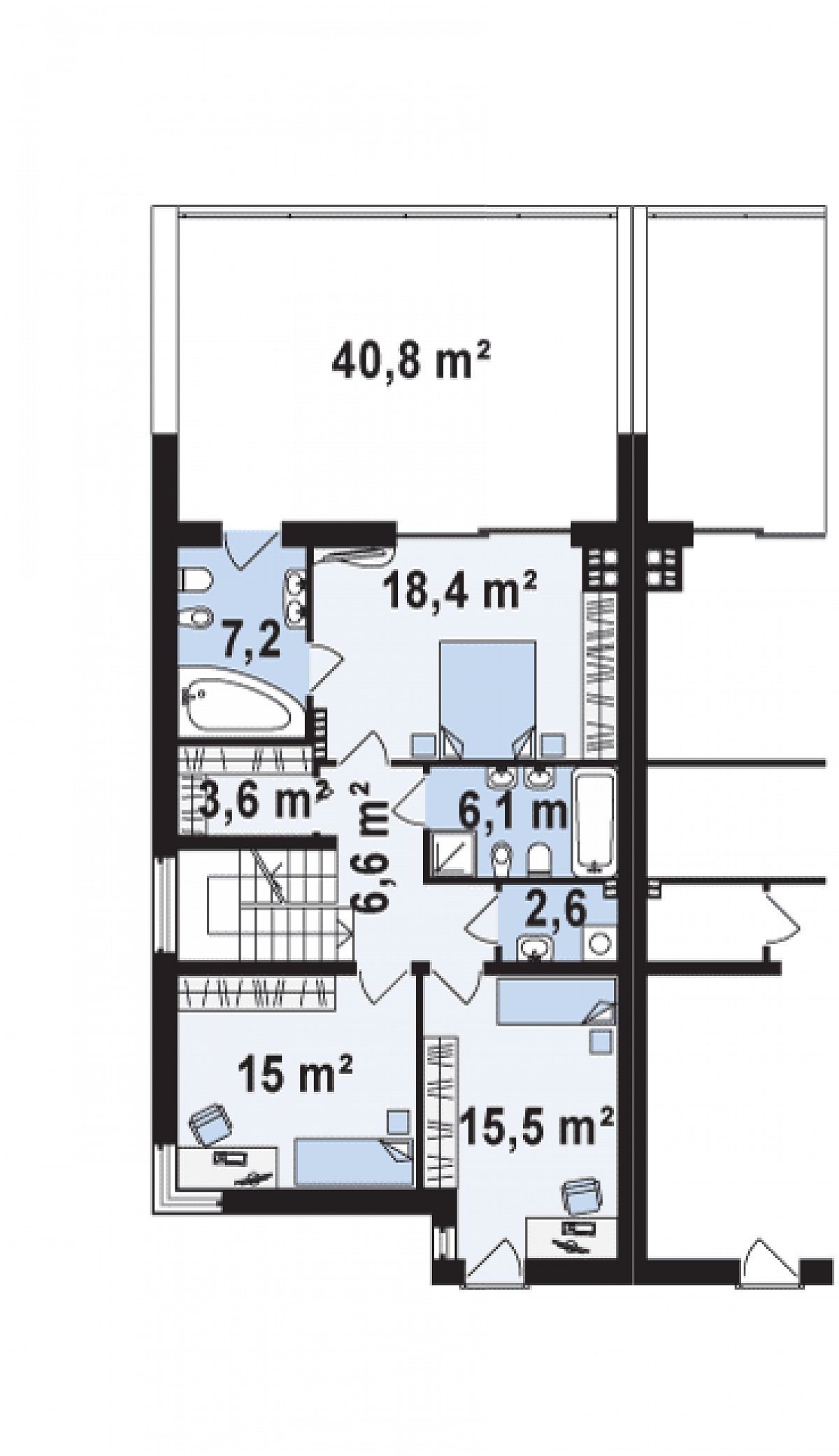 Второй этаж 75,0м² дома Zb8