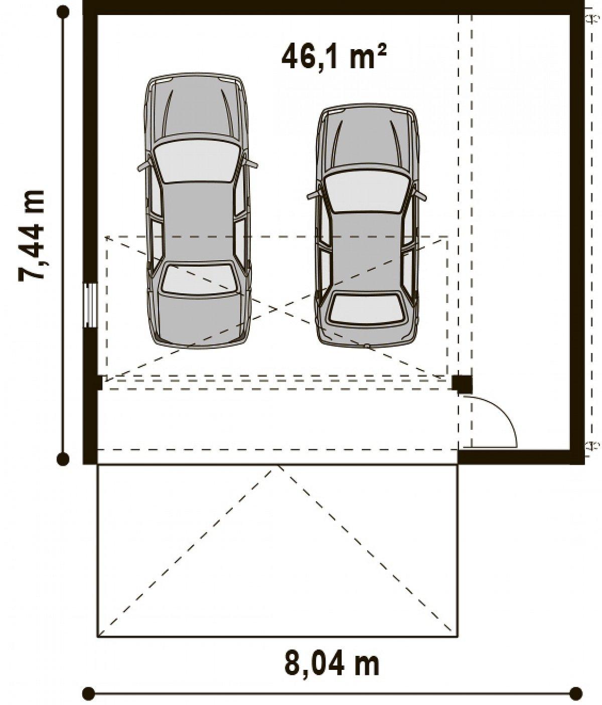 Площадь 46,1м² гаража Zg16