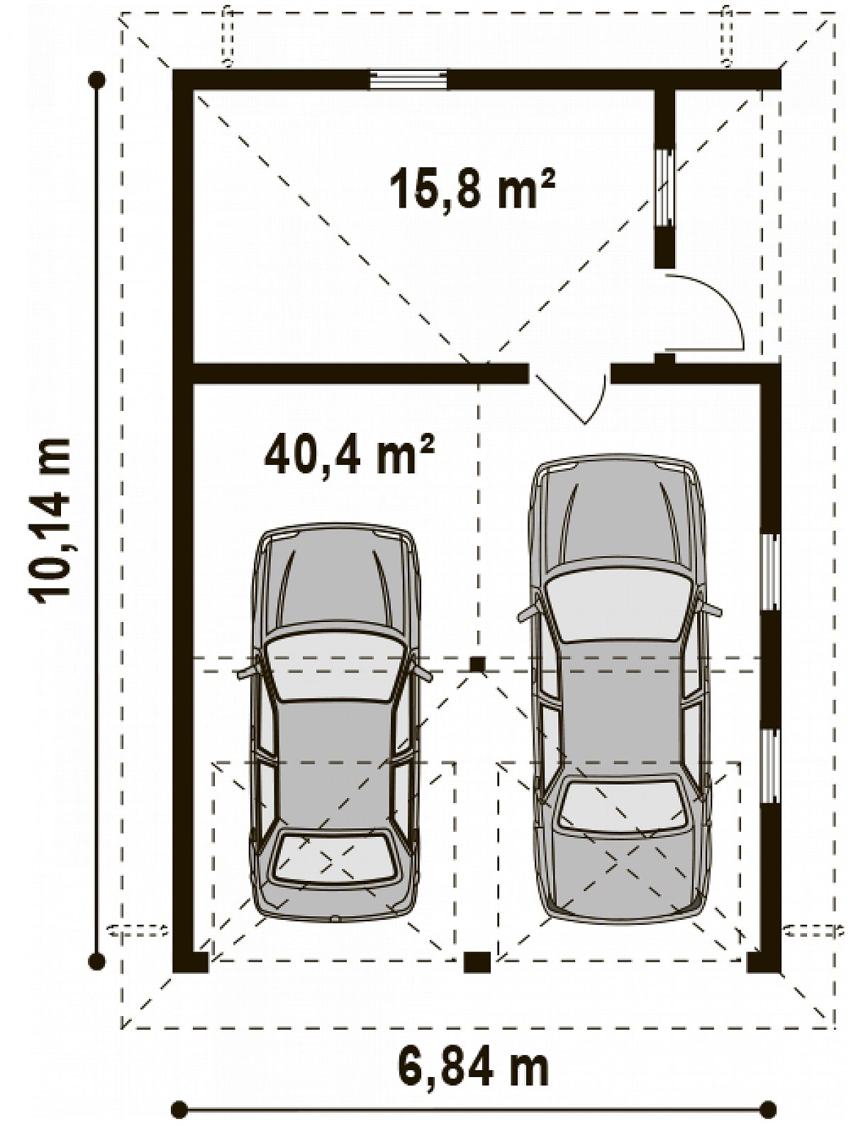 Площадь 56,2м² гаража Zg19