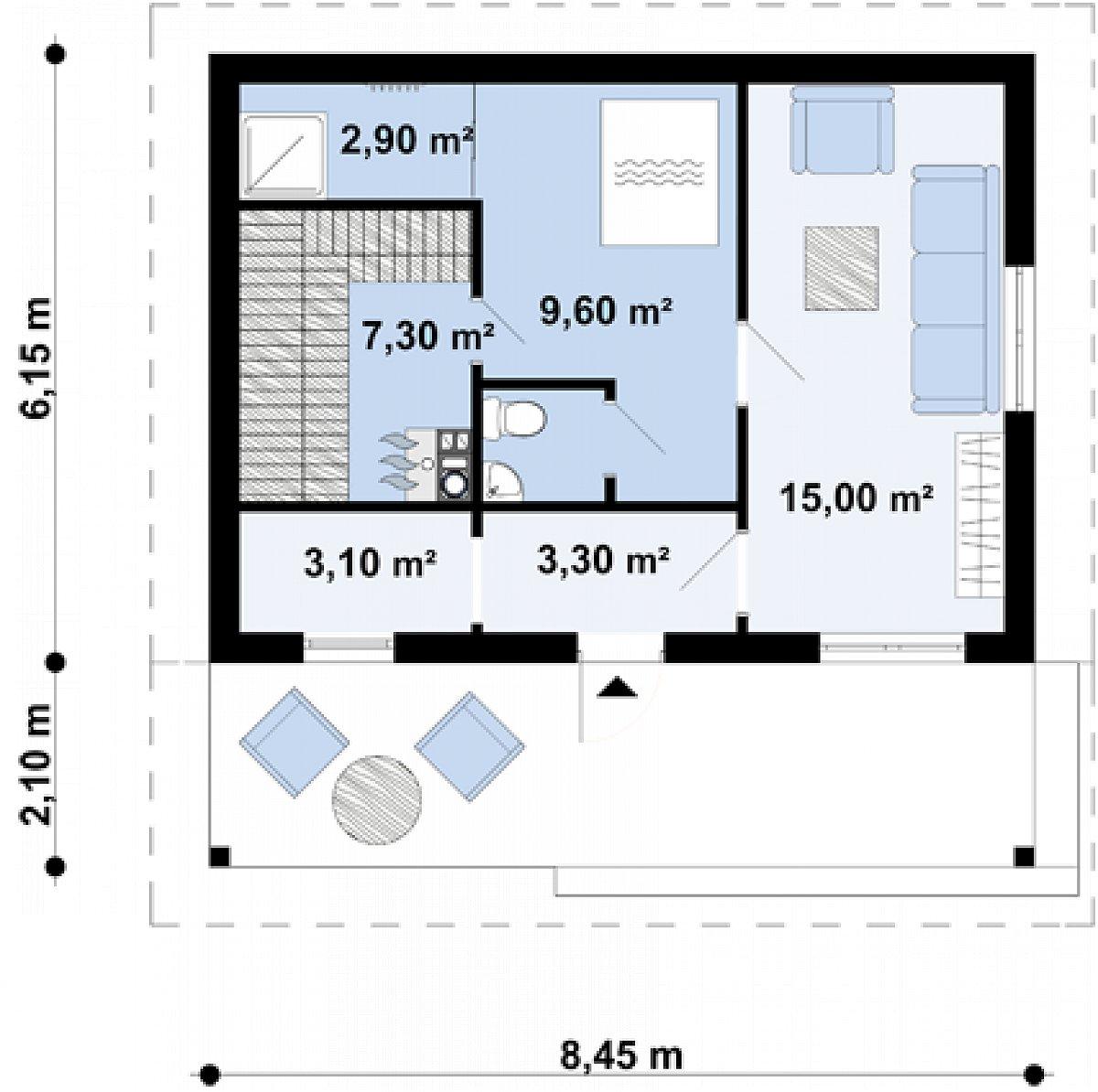 Первый этаж 41,2м² бани Zp1