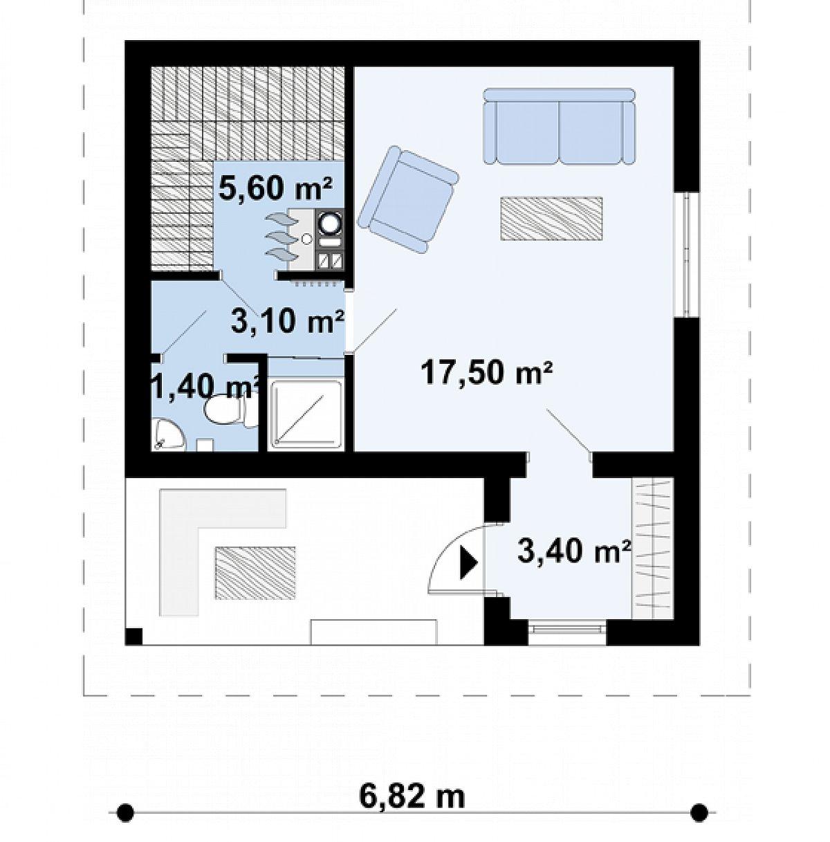 Первый этаж 31,0м² бани Zp2