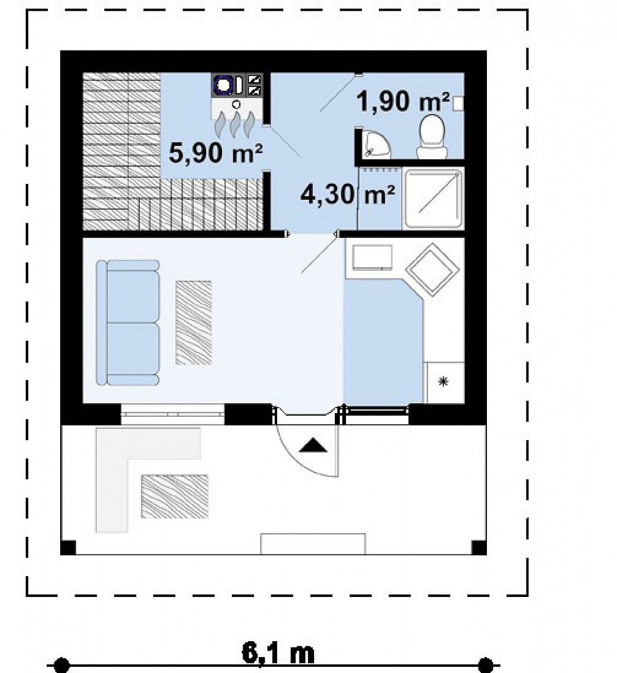 Первый этаж 24,2м² бани Zp3