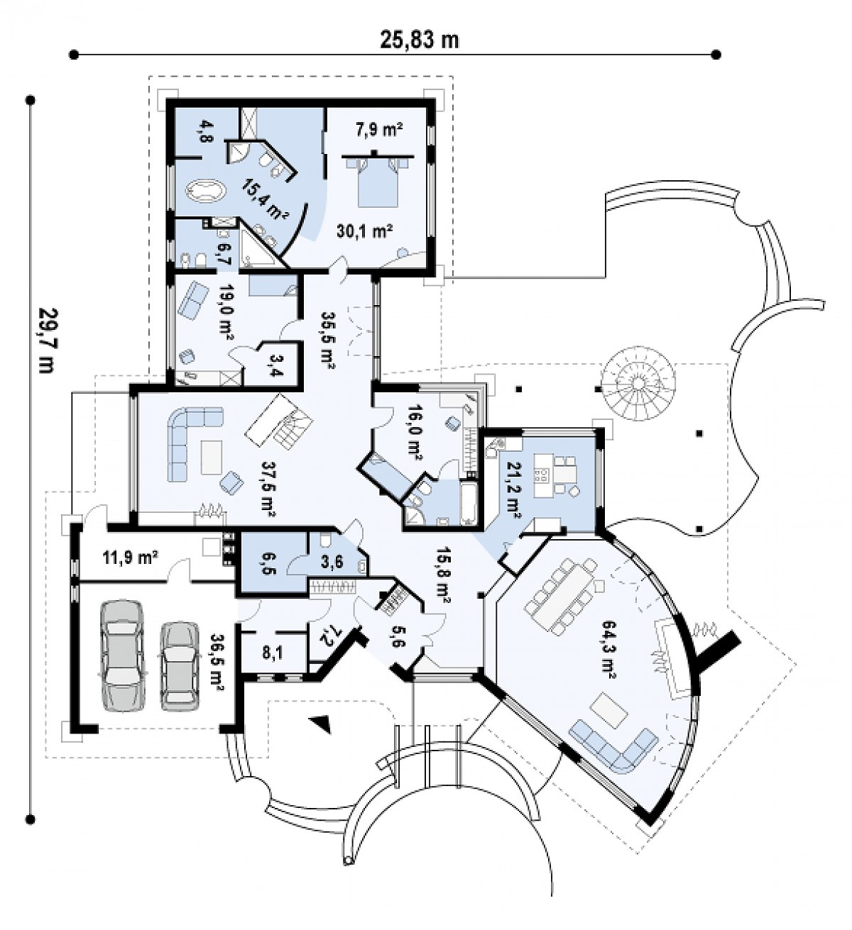 Первый этаж 308,8(356,6м²) дома Zr1