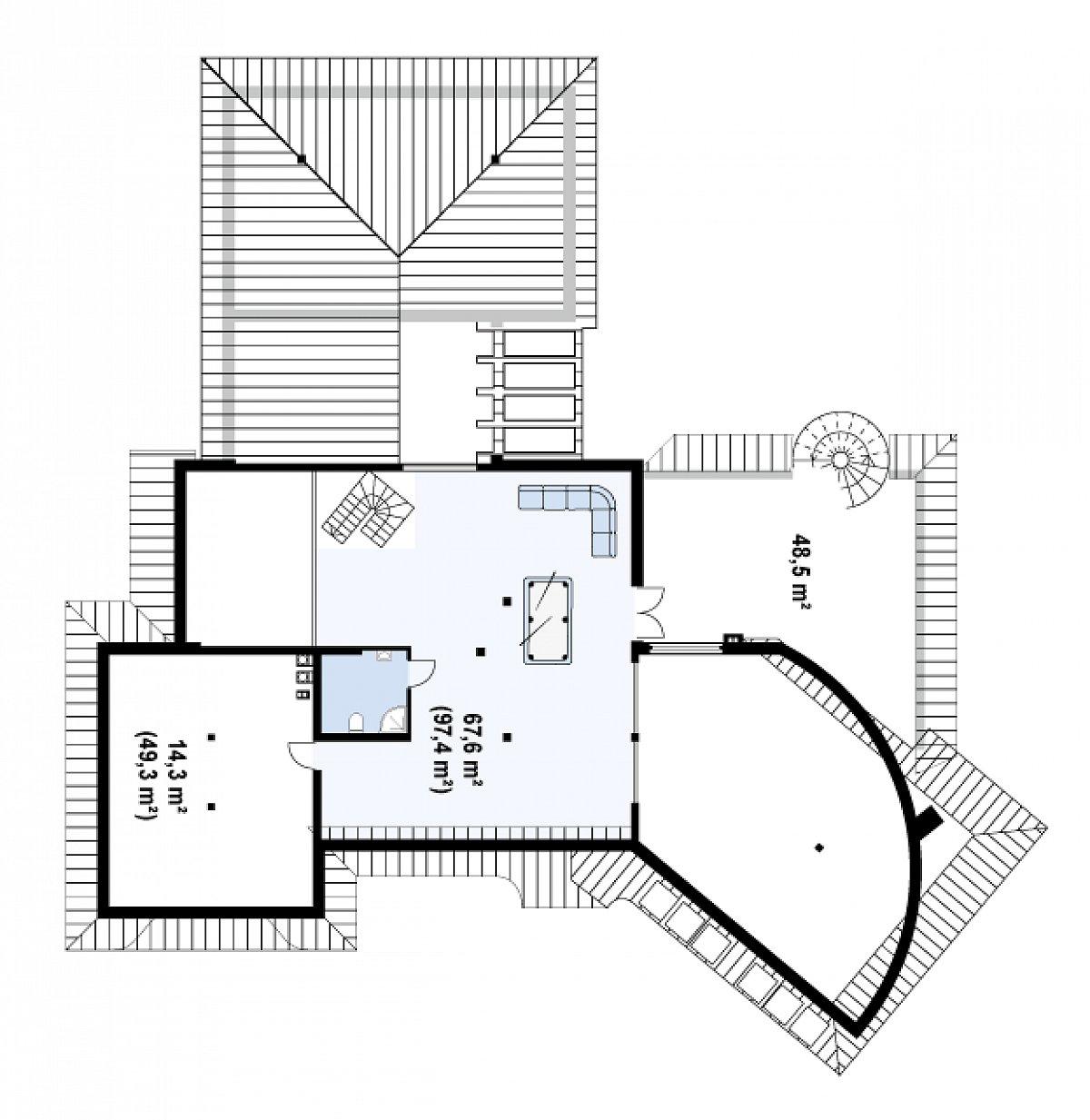 Второй этаж 91,2(152,9м²) дома Zr1