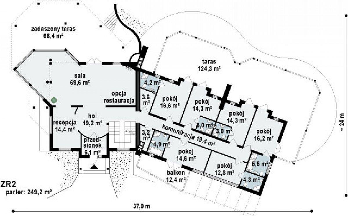 Первый этаж 249,2м² дома Zr2