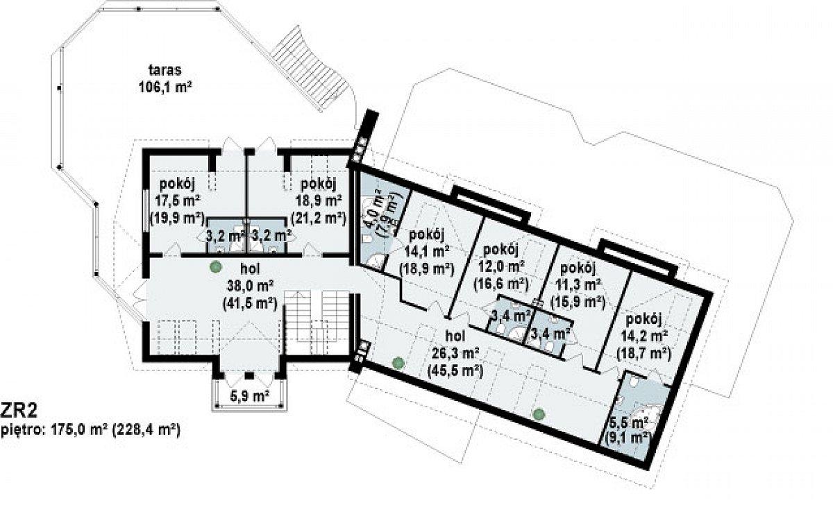 Второй этаж 179,9(228,4м²) дома Zr2