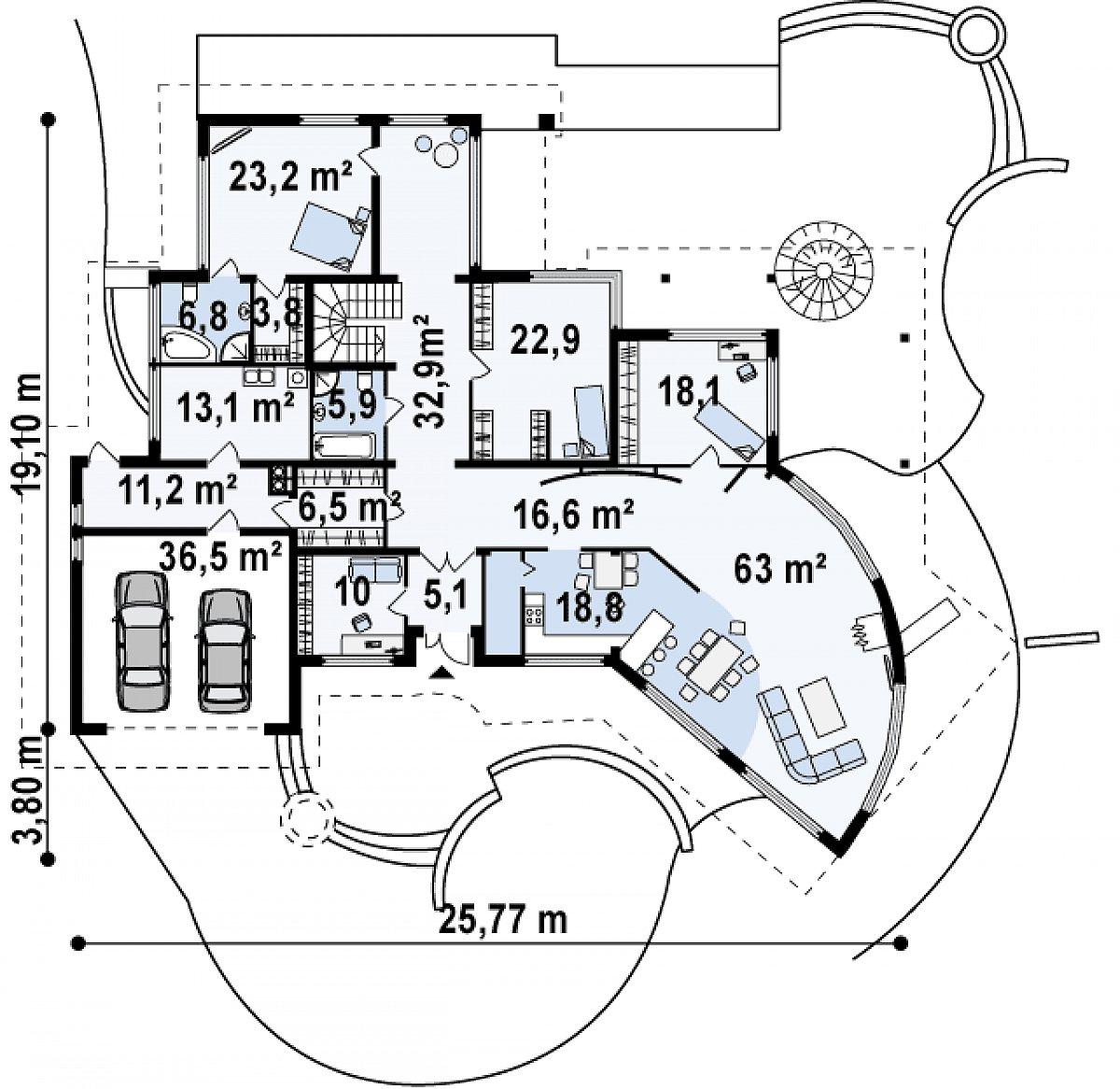 Первый этаж 242,8(290,5м²) дома Zr5