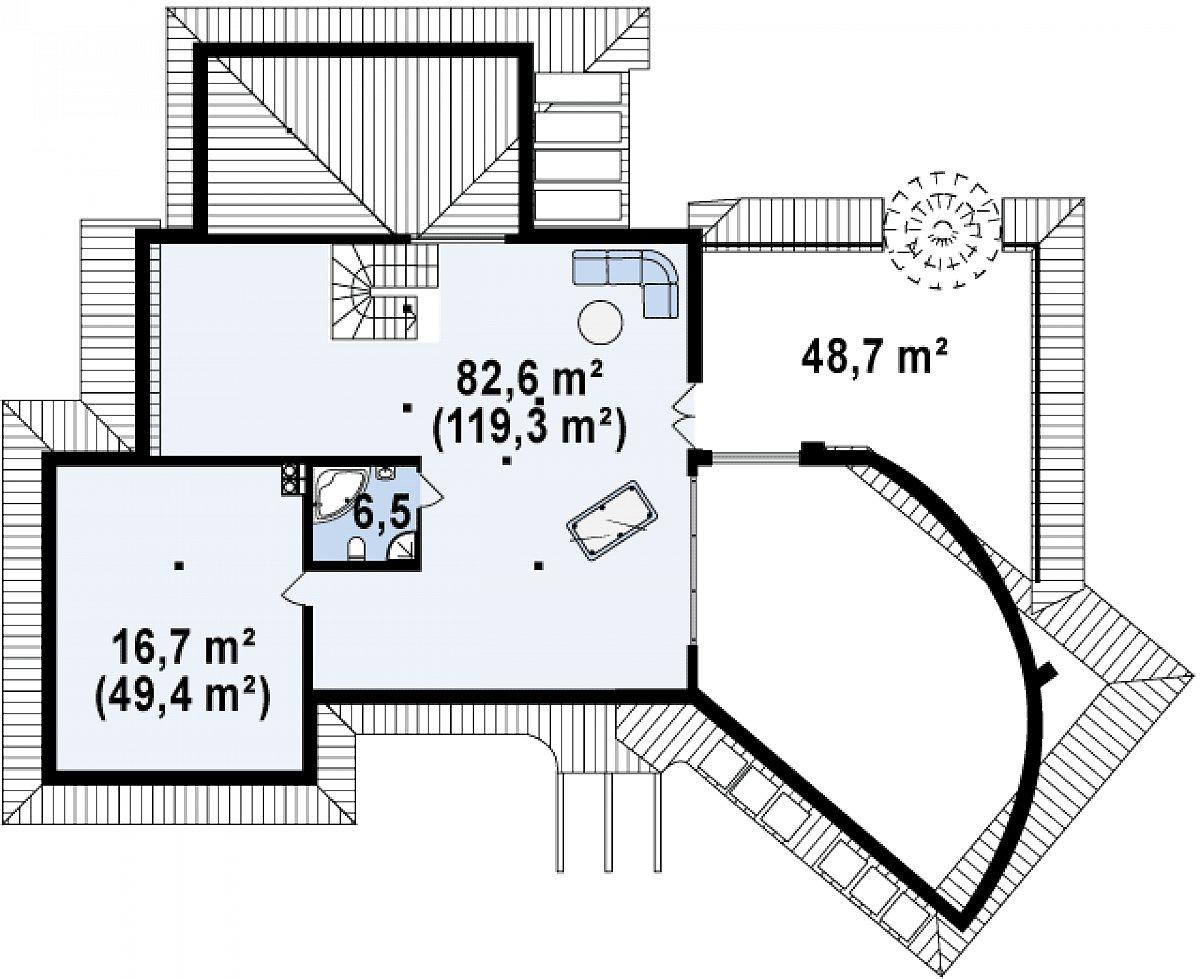 Второй этаж 103,5(175,5м²) дома Zr5