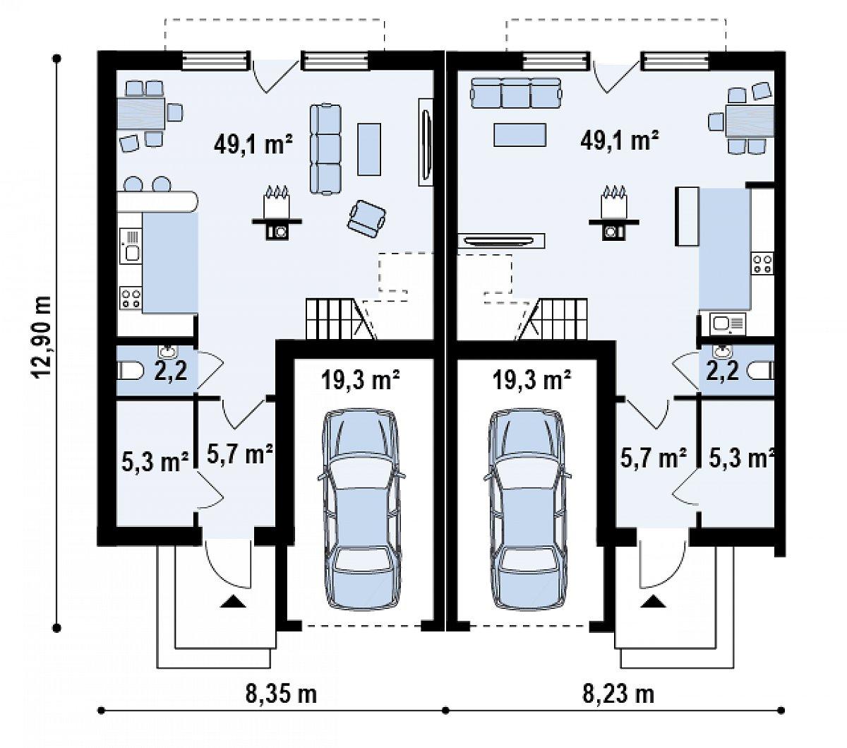 Первый этаж 62,3(81,6м²) дома Zs1