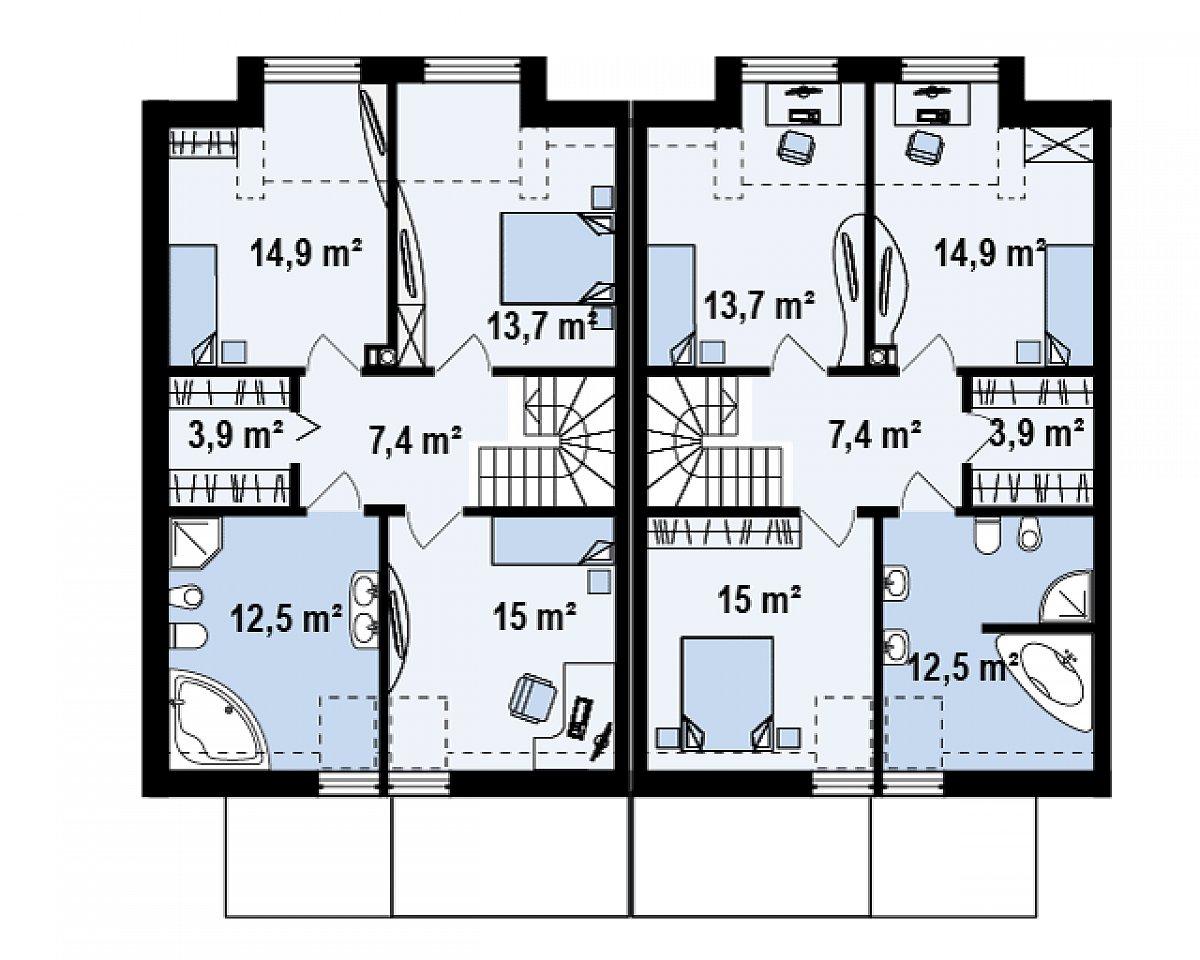 Второй этаж 67,5(72,7м²) дома Zs1