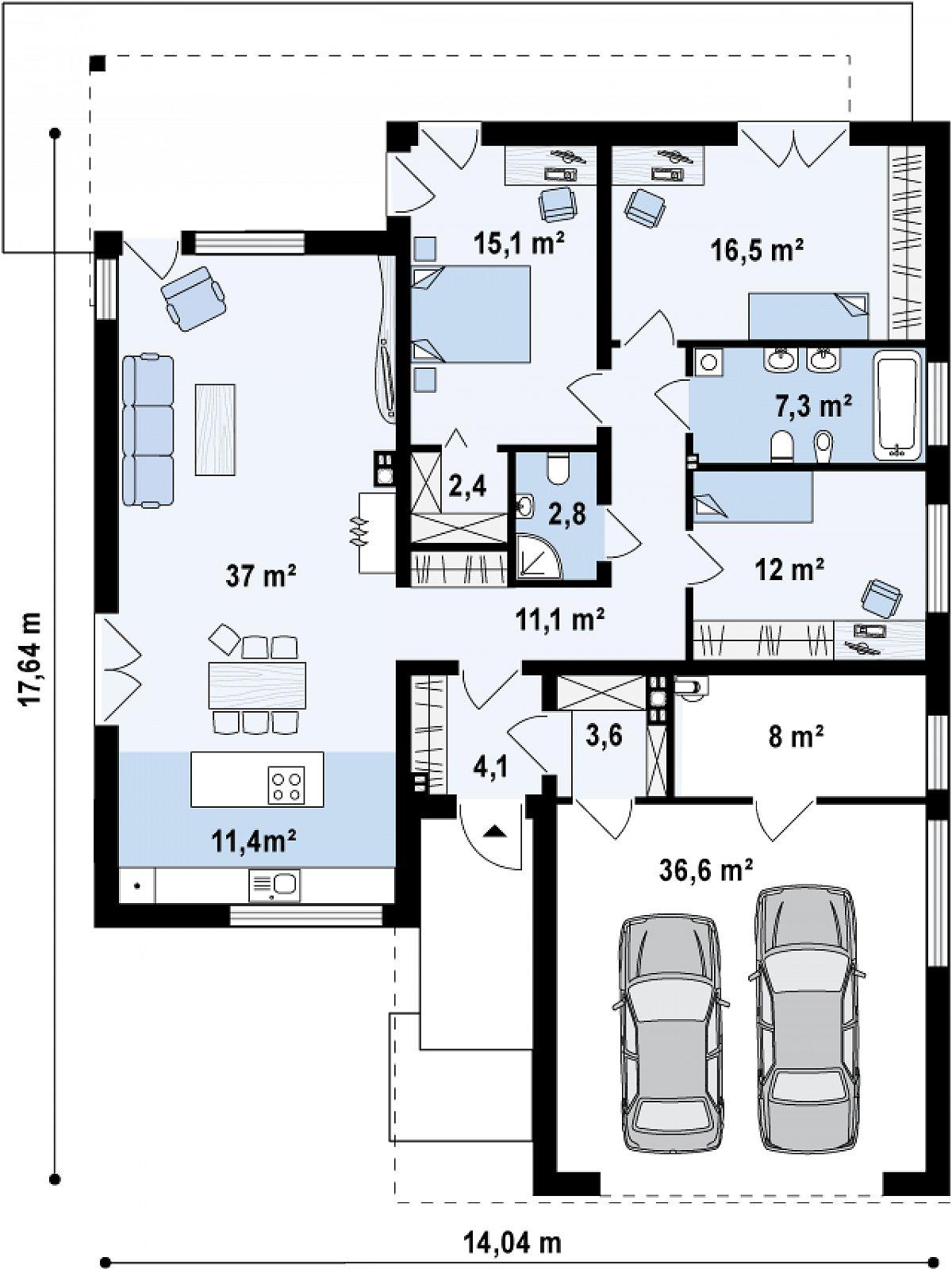 Первый этаж 119,7(167,8м²) дома Zx100 v1
