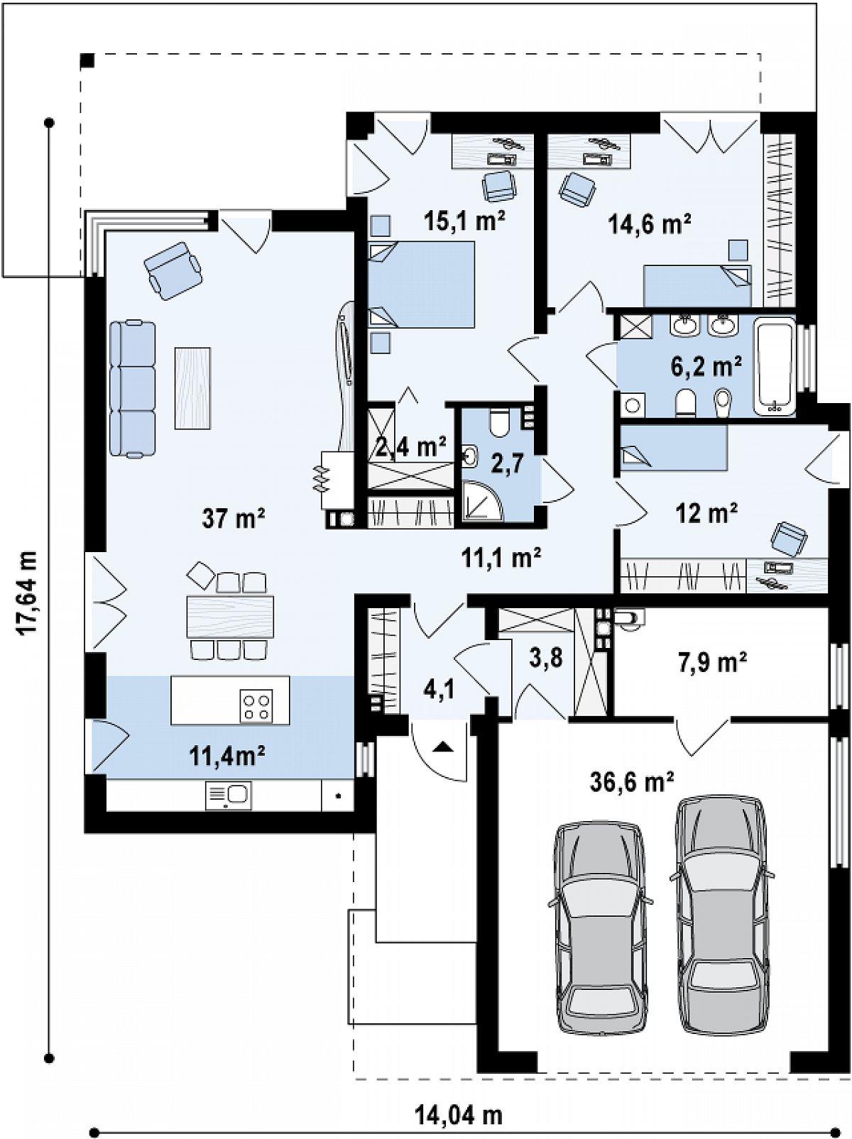 Первый этаж 116,6(164,8м²) дома Zx100