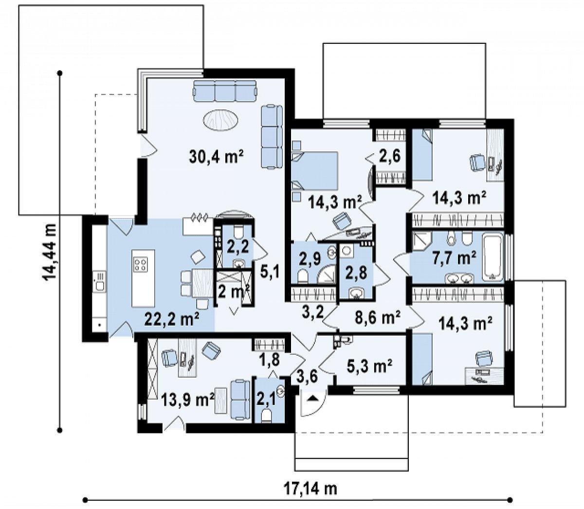 Первый этаж 159,3м² дома Zx101