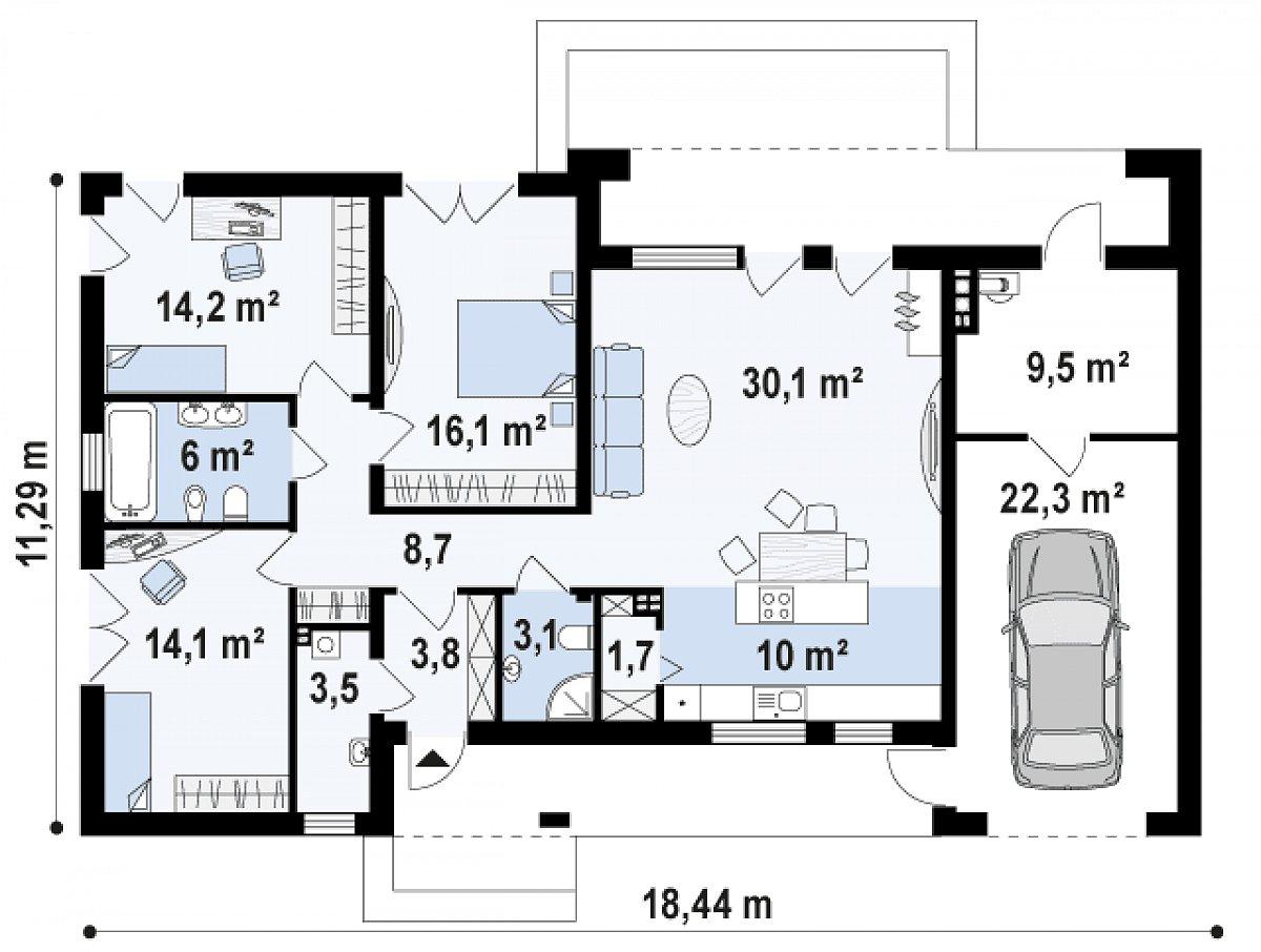 Первый этаж 111,5(143,3м²) дома Zx102 GP