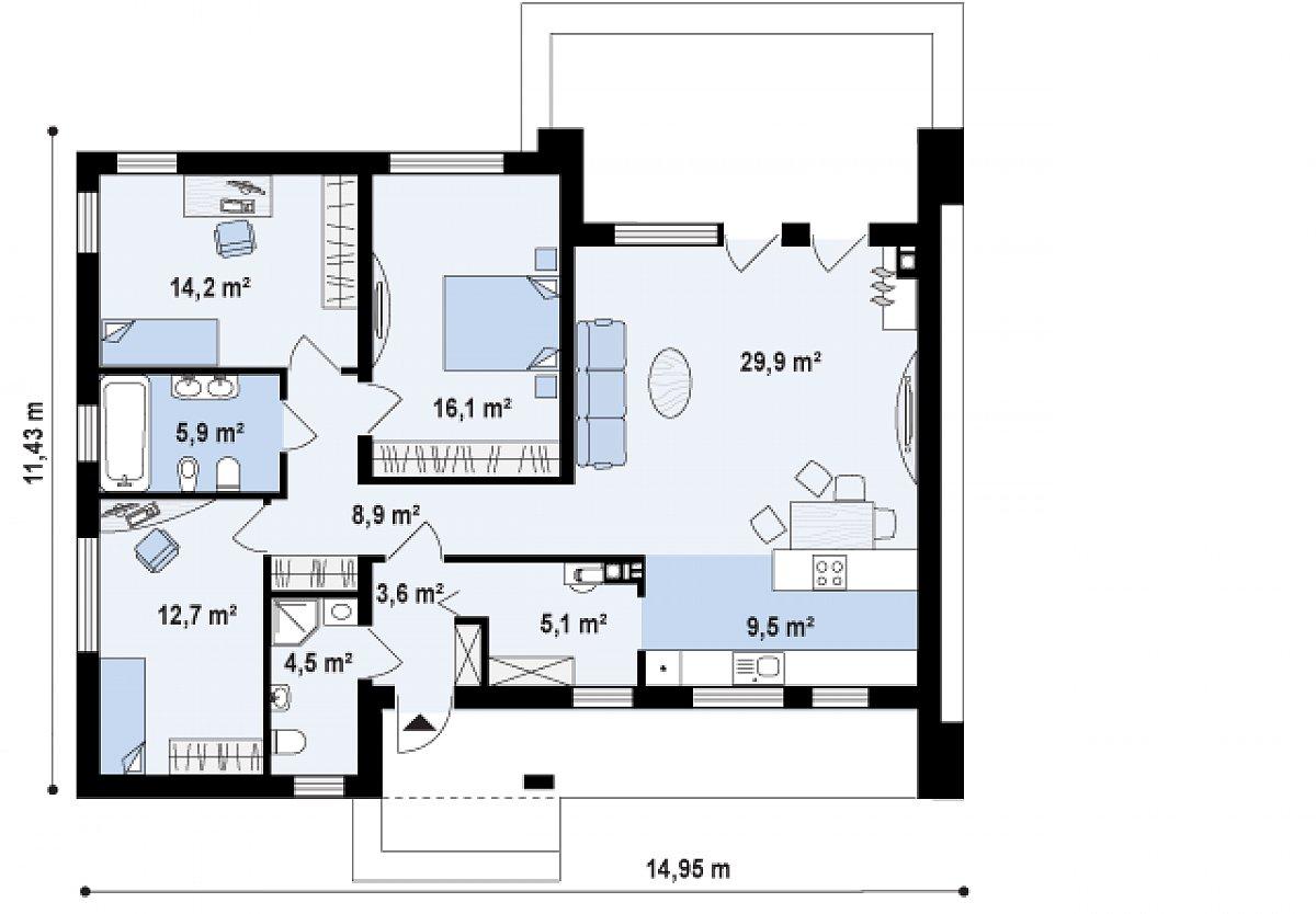 Первый этаж 111,9м² дома Zx102 bG