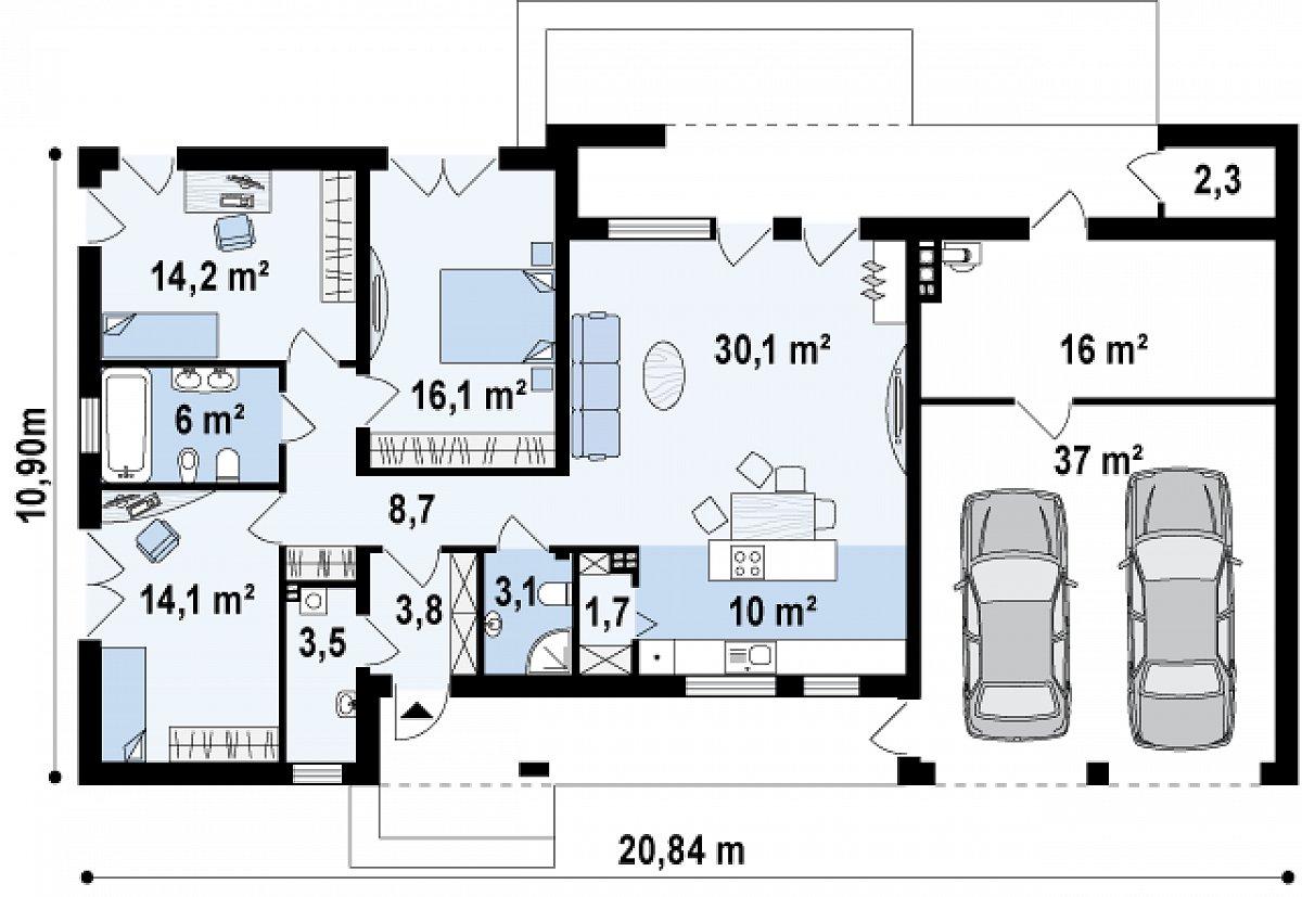 Первый этаж 111,5(166,7м²) дома Zx102