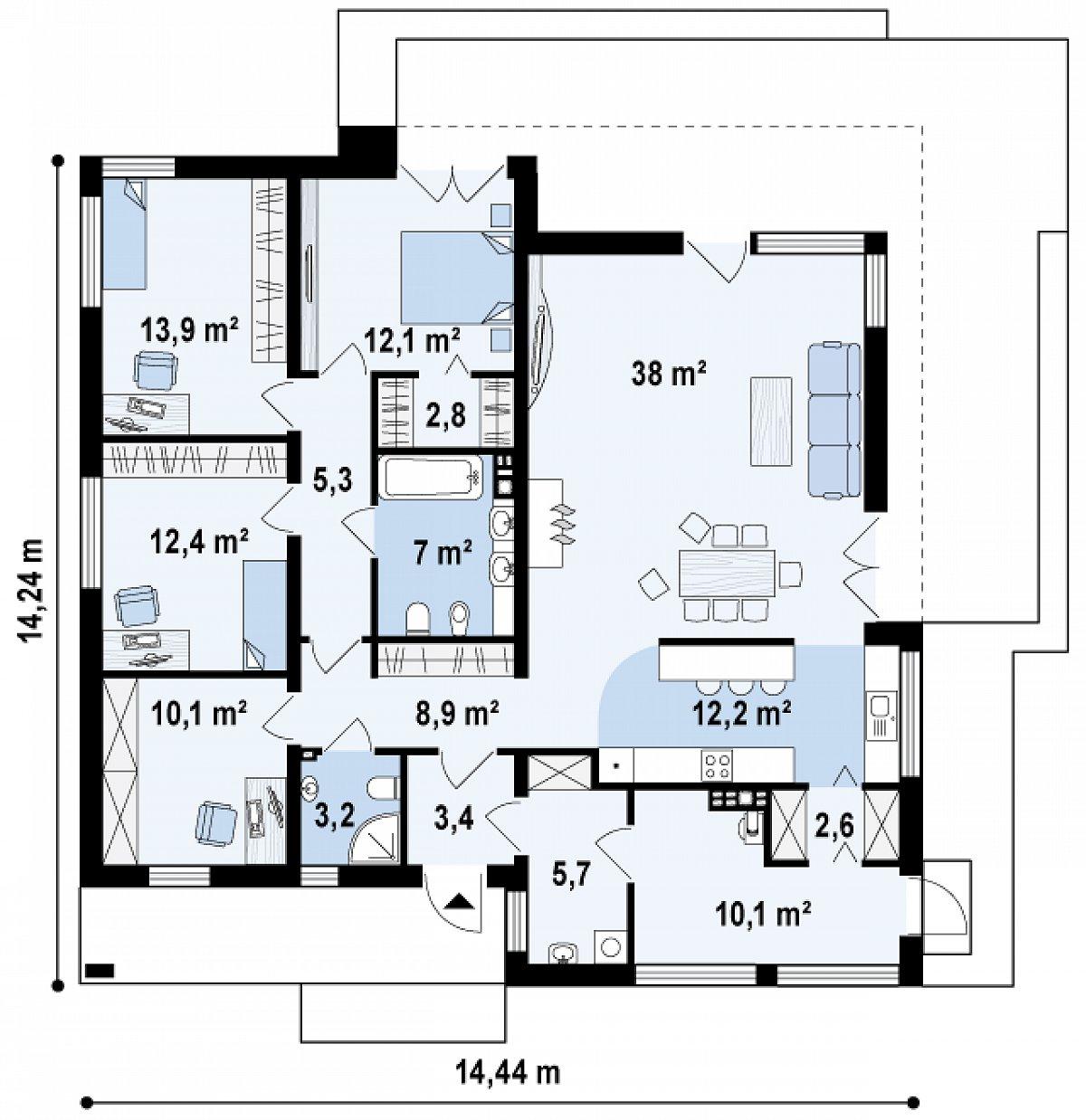 Первый этаж 147,8м² дома Zx103 bG