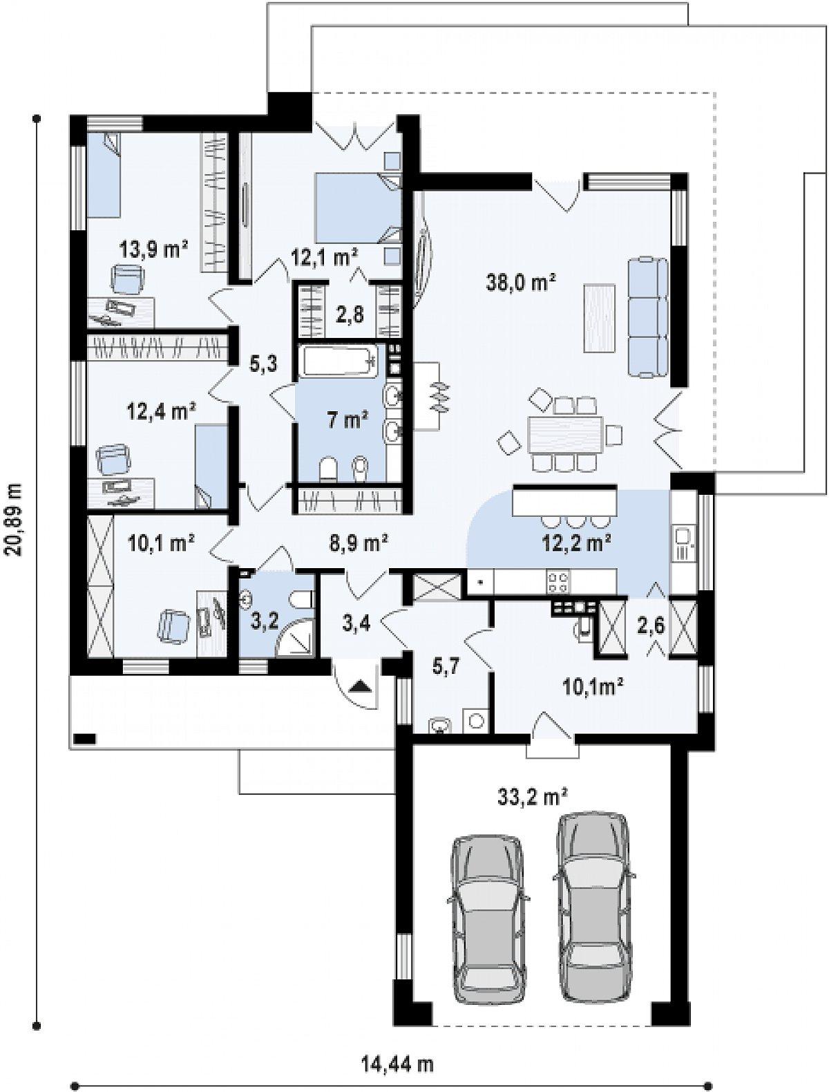 Первый этаж 148,8(182,0м²) дома Zx103