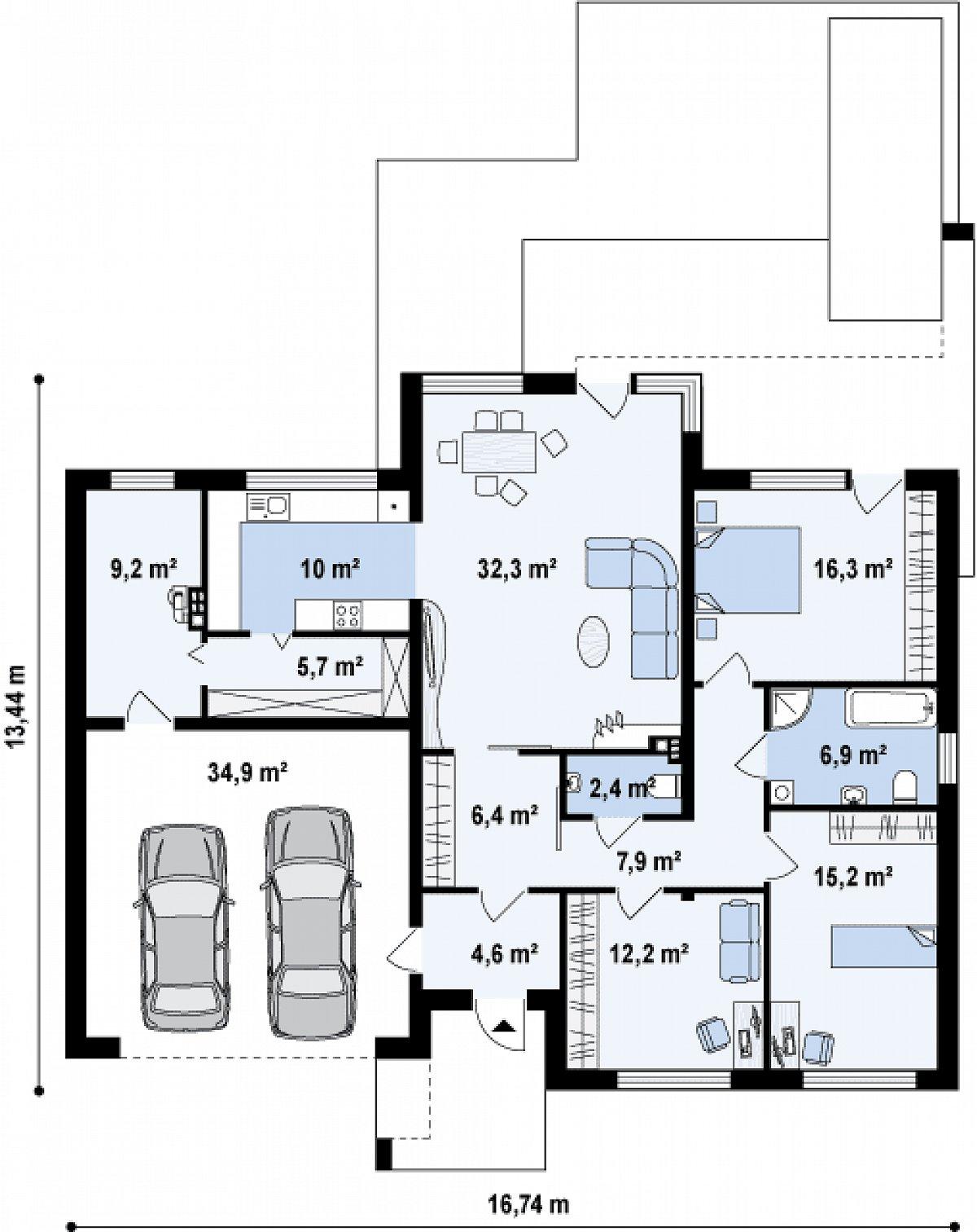 Первый этаж 129,1(164,0м²) дома Zx104