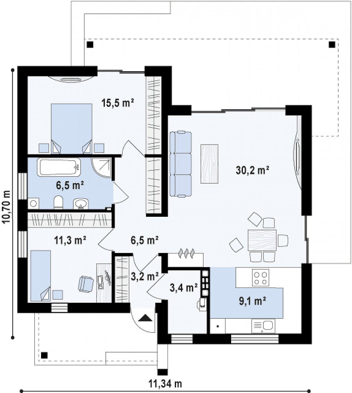 Первый этаж 86,1м² дома Zx105