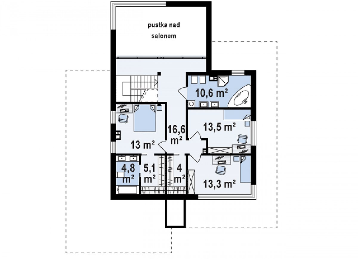Второй этаж 81,0м² дома Zx108