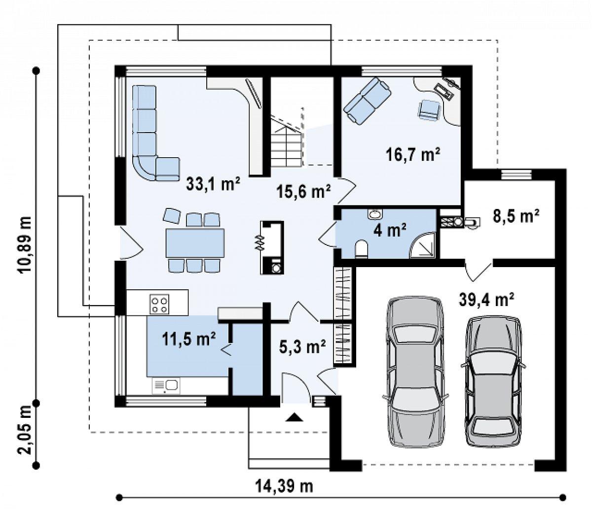 Первый этаж 86,3(134,2м²) дома Zx10