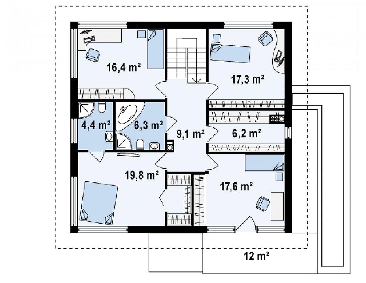 Второй этаж 97,2м² дома Zx10