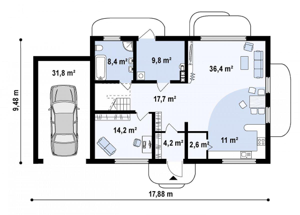 Первый этаж 104,3(136,1м²) дома Zx11 GL