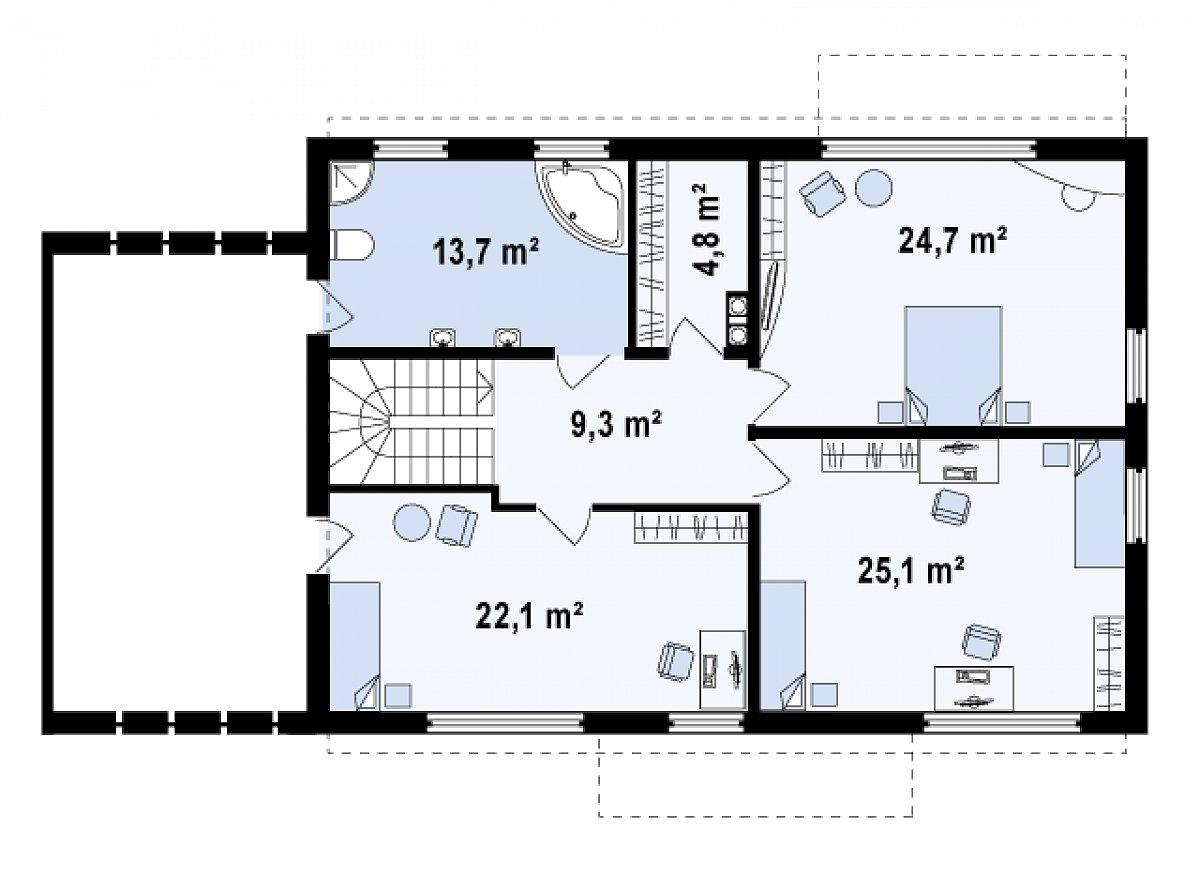 Второй этаж 99,7м² дома Zx11 GL