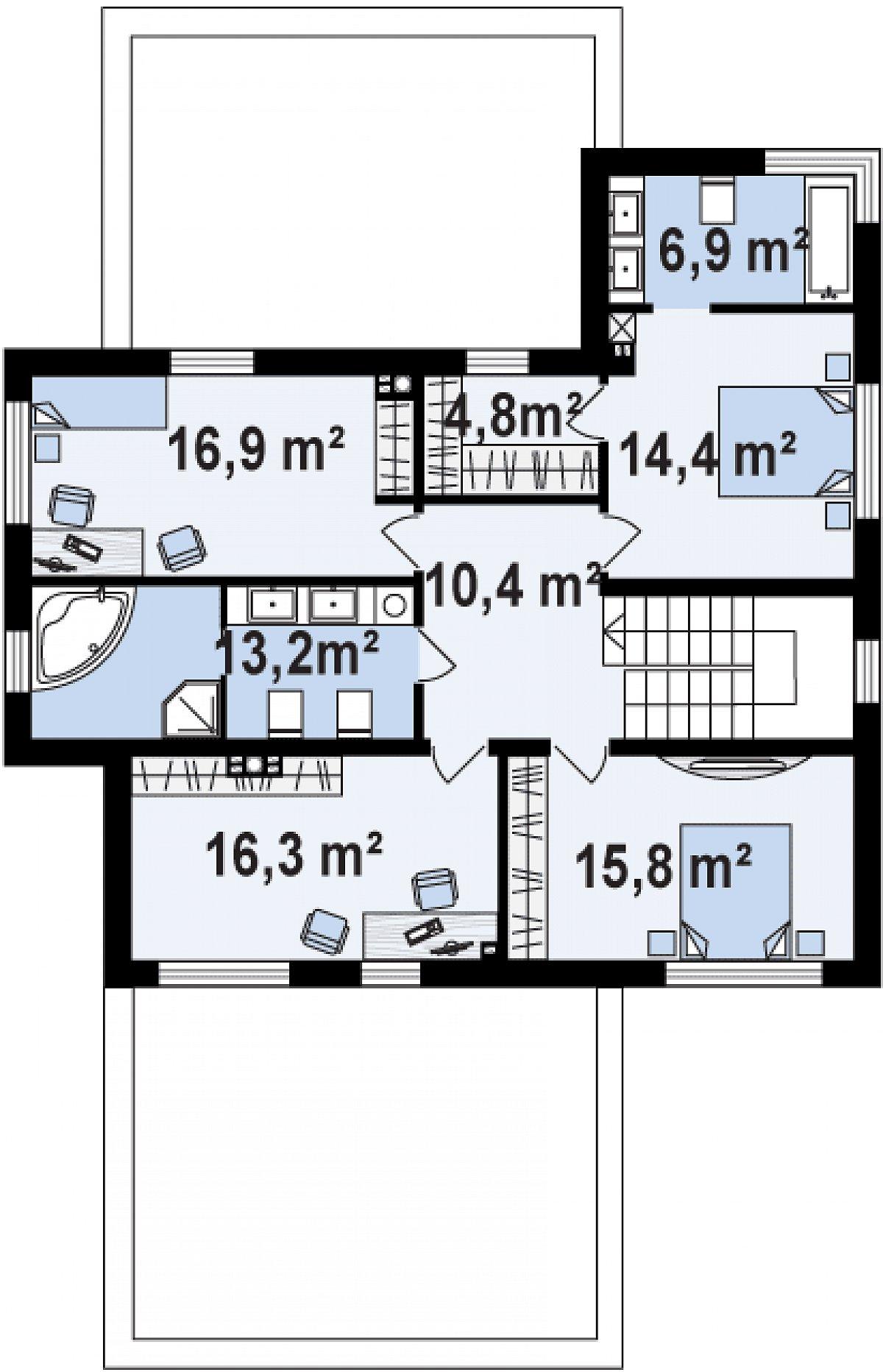 Второй этаж 99,6м² дома Zx112