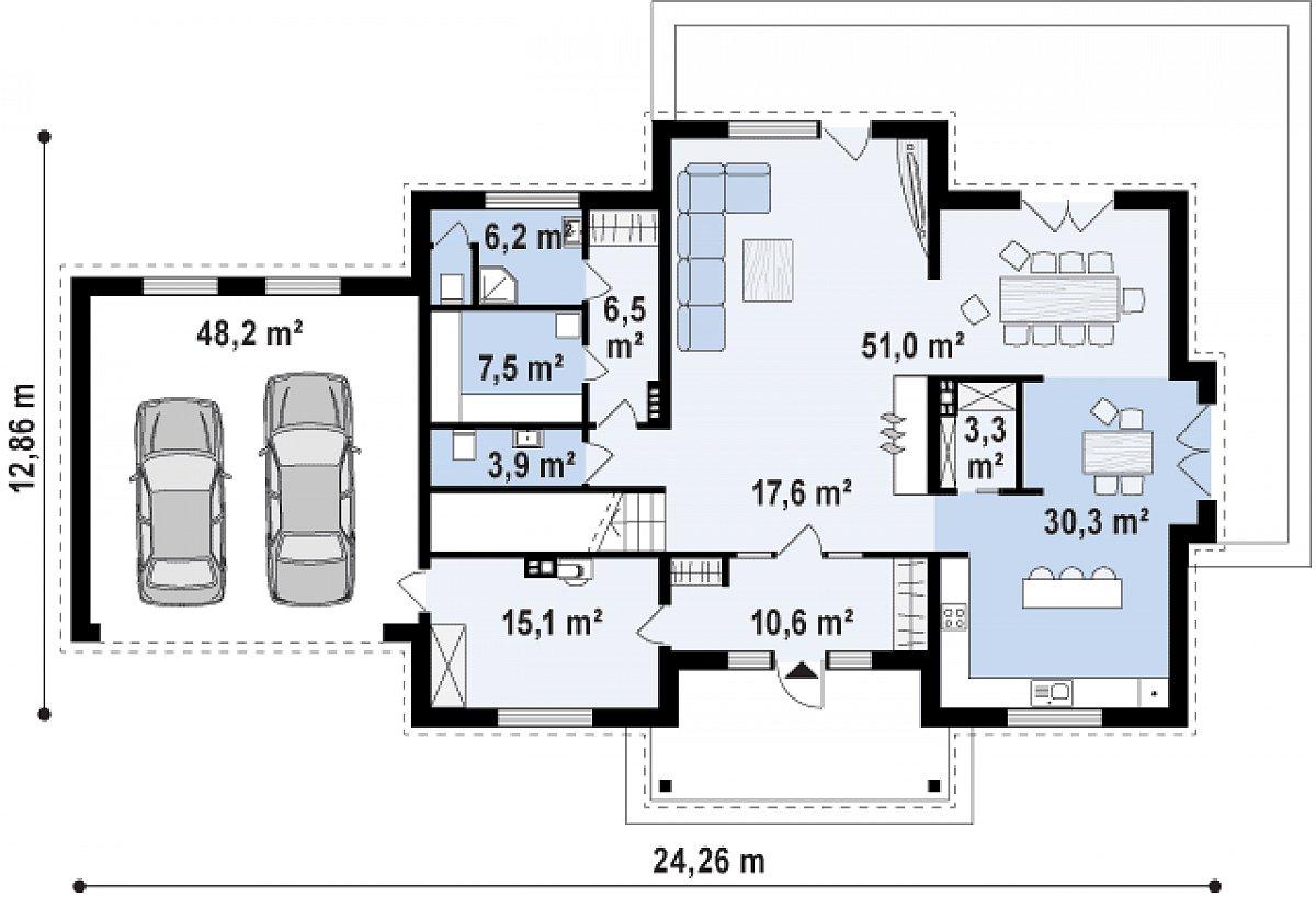 Первый этаж 138,6(201,9м²) дома Zx113