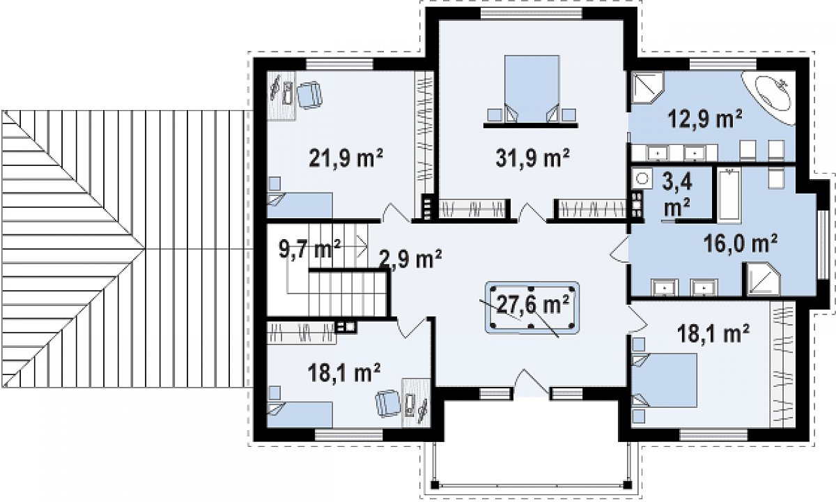 Второй этаж 153,3(152,7м²) дома Zx113
