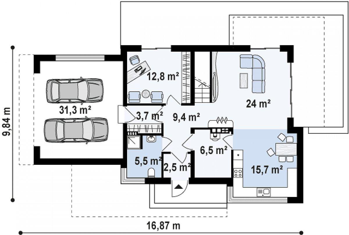 Первый этаж 80,1(111,4м²) дома Zx114