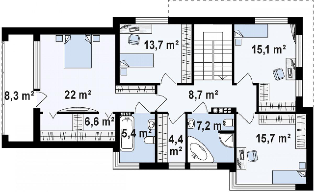 Второй этаж 98,9м² дома Zx114