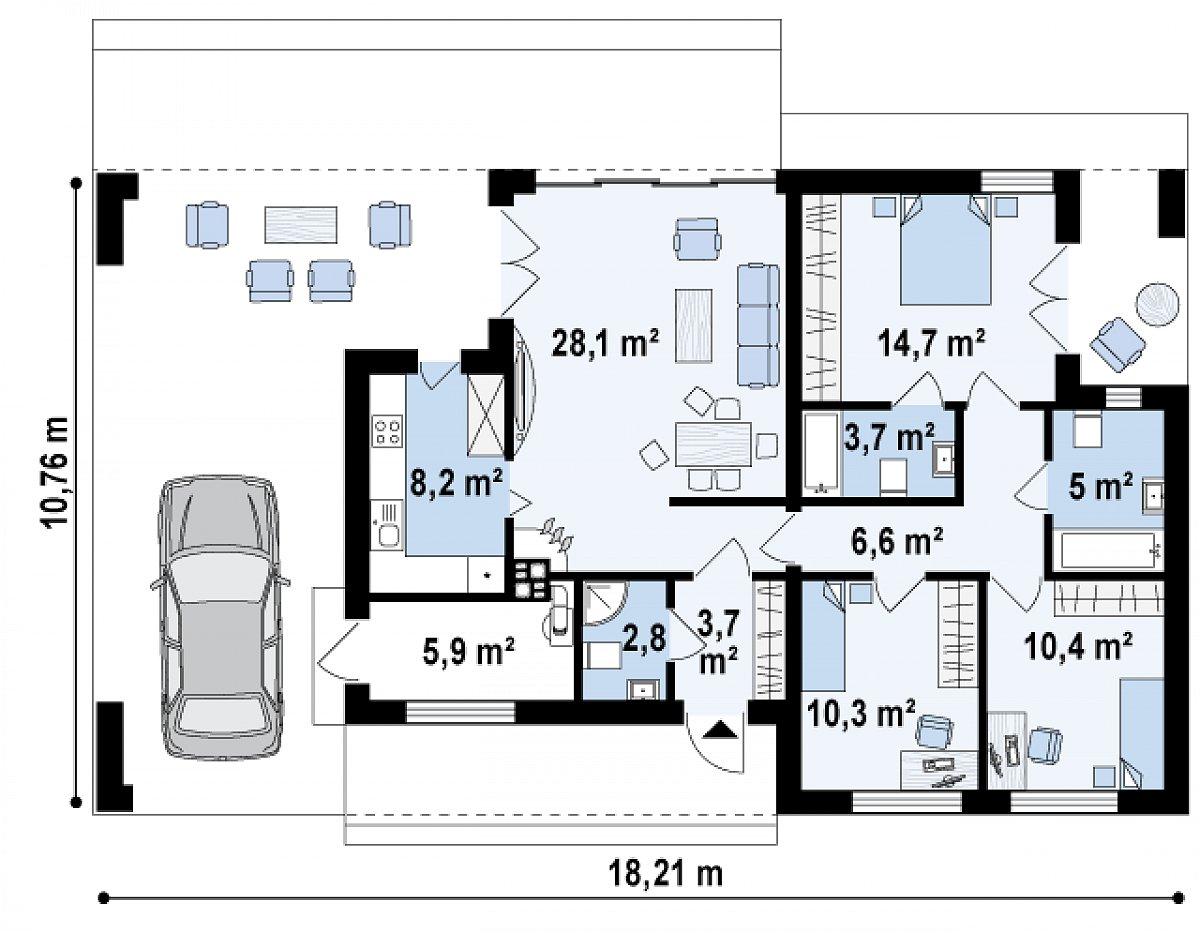 Первый этаж 99,5м² дома Zx117