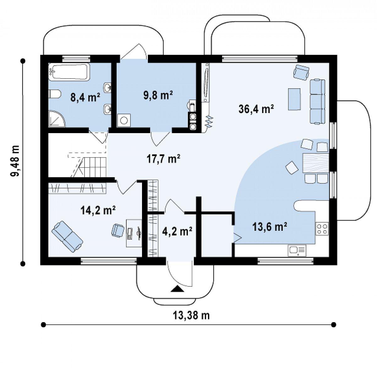 Первый этаж 104,3м² дома Zx11